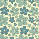 Blå mjuk pastell blommar den sömlösa modellbakgrundsillustrationen Royaltyfri Fotografi