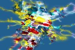 Blå mjuk vattenfärgbakgrund för guld, vaxartad abstrakt textur Royaltyfria Foton