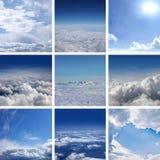 blå molnig collagebildsky arkivfoto