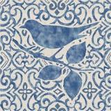 Blå molnig vattenfärgfågel Royaltyfri Bild