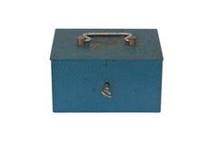 Blå moneybox  Arkivfoton