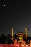 Blå moské i natten Royaltyfri Fotografi