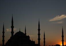 Blå moské på solnedgången Royaltyfri Foto
