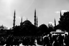 Blå mosquee i svartvitt Arkivfoton