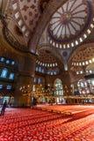 Blå mosqueeinterior Arkivbild