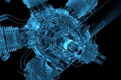 blå motor som glöder genomskinlig royaltyfri illustrationer