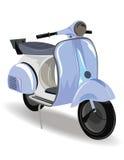 Blå motorisk sparkcykel med blommor Royaltyfri Bild
