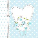 Blå muffinbakgrund Royaltyfri Fotografi