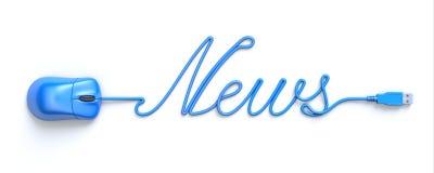 Blå mus och kabel i formen av ord-nyheterna stock illustrationer