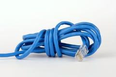 Blå nätverkskabel för wound-upp Arkivfoto