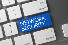 Blå nätverkssäkerhetsknapp på tangentbordet 3d Royaltyfri Foto