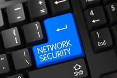 Blå nätverkssäkerhetsknapp på tangentbordet 3d Arkivbild