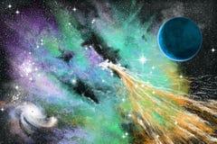 blå nebula Arkivbild
