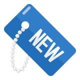 Blå ny etikettslägenhetsymbol som isoleras på vit Royaltyfria Foton