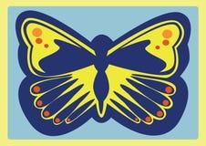 Blå och gul fjäril Fotografering för Bildbyråer