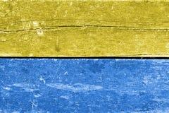 Blå och gul wood bakgrund Royaltyfria Bilder