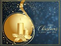 Blå och guld- julbakgrund med glad jul a för text royaltyfri illustrationer