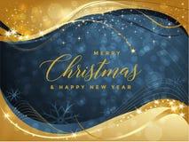 Blå och guld- julbakgrund med glad jul för text och illustrationen för lyckligt nytt år vektor illustrationer