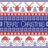 Blå och röd skandinavisk för glad jul modell för mörker - med Santa Claus, xmas-gåvor, ren, dekorativa prydnader, snöflinga Arkivfoto