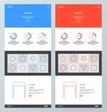 Blå och röd websitedesignmall Arkivfoto