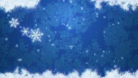 Blå is- och snöfallbakgrund med tre svänga snöflingor r royaltyfri illustrationer