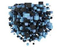 Blå och svart 3d skära i tärningar bakgrund Royaltyfri Fotografi