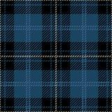 Blå och svart sömlös skotsk modell för tartanpläd Vektor Illustrationer