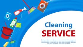 Blå och vit bakgrund för rengörande service Affisch eller baner med hjälpmedel och lokalvårdprodukter för renlighet vektor royaltyfri illustrationer