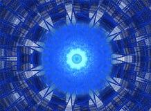 Blå och vit fractal Arkivfoto