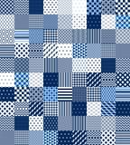 Blå och vit patchwork vadderad geometrisk sömlös modell, vektoruppsättning vektor illustrationer