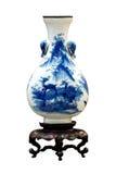 Blå och vit vas för kinesisk antikvitet Royaltyfri Fotografi