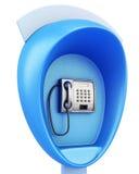 Blå offentlig löntelefon på en vit bakgrund framförande 3d vektor illustrationer