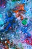 Blå orange rosa beige målningbakgrund, färgrik abstrakt bakgrund Fotografering för Bildbyråer