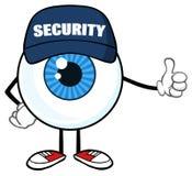 Blå ordningsvakt Giving för tecken för ögonglobtecknad filmmaskot en tumme upp stock illustrationer