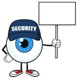 Blå ordningsvakt Holding Up för tecken för ögonglobtecknad filmmaskot ett tomt tecken stock illustrationer