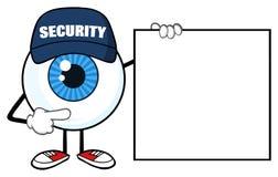 Blå ordningsvakt Pointing för tecken för ögonglobtecknad filmmaskot ett tomt teckenbaner royaltyfri illustrationer