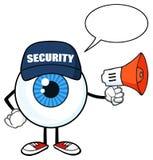 Blå ordningsvakt Using för tecken för ögonglobtecknad filmmaskot en megafon med anförandebubblan stock illustrationer