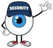 Blå ordningsvakt Waving For Greeting för tecken för ögonglobtecknad filmmaskot stock illustrationer