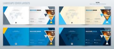 Blå orientering för landskapbroschyrmall, räkningsdesignårsrapport, tidskrift, reklamblad eller broschyr i A4 med triangeln vektor illustrationer