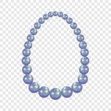 Blå pärlemorfärg halsbandmodell, realistisk stil stock illustrationer