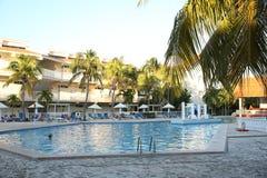 Blå pöl med palmträd omkring på en tropisk strand med palmträd i det karibiskt arkivbild
