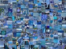 BLÅ patchworkphotomontagebakgrund Royaltyfria Foton