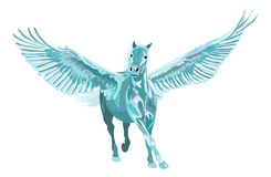 Blå pegasus häst som galopperar med öppna vingar Arkivfoton