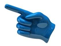 Blå peka hand Arkivbild