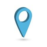 Blå pekare för översikt 3D med tappad skugga på vit bakgrund Illustration för vektor EPS10 Arkivbild