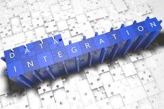 Blå pil med slogan för dataintegration på en grå bakgrund Royaltyfria Bilder