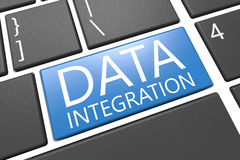 Blå pil med slogan för dataintegration på en grå bakgrund Royaltyfria Foton
