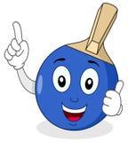 Blå Ping Pong eller bordtennisracket Arkivbild
