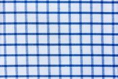 Blå plädtygbomull - tabellkläder Royaltyfria Bilder