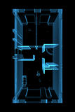 blå plan framförd genomskinlig röntgenstråle Arkivbild